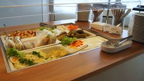 柏林,德国- 2015年1月17日, :在企业休息室的食物自助餐在柏林特赫尔国际机场 库存照片