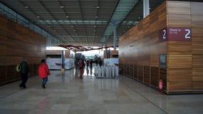 柏林,德国- 2015年1月17日, :在柏林勃兰登堡机场误码率里面,建设中,空的终端 库存图片
