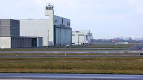 柏林,德国- 2015年1月17日, :的航空飞机棚在柏林勃兰登堡机场误码率 库存照片