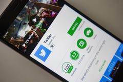柏林,德国- 2017年11月19日:在现代智能手机特写镜头屏幕上的慌张应用  免版税库存图片