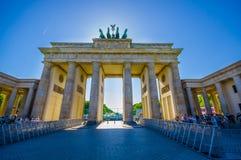 柏林,德国- 2015年6月06日:Brandenburger门准备好庆祝,冠军同盟决赛 图库摄影
