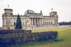 柏林,德国- 12月06,2017 :Reichstag大厦,位子  库存照片