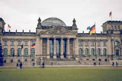 柏林,德国- 12月06,2017 :Reichstag大厦,位子  免版税图库摄影