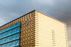 柏林, 2017年10月03日:在普遍音乐办公室的大厦的一个标志柏林` s东部口岸疆土的  免版税图库摄影