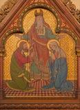 柏林-在木头的油漆圣约瑟夫和圣母玛丽亚婚礼在圣约翰浸礼会教友大教堂 免版税图库摄影