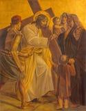 柏林-在金属片的油漆-耶稣在教会圣马修里遇见耶路撒冷的妇女 库存照片