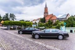 柏林- 2014年8月17日:实验驾驶事件的本特利Mulsanne汽车新闻工作者的 本特利Mulsanne是 免版税图库摄影