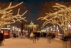 柏林brandenburger圣诞节突岩 免版税库存图片