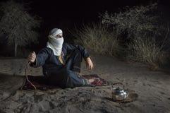 柏柏尔人在沙漠 免版税图库摄影