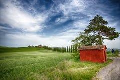 柏树行和一条白色路有一个小红色房子的,农村风景在val d Orcia土地在锡耶纳,托斯卡纳,意大利附近 图库摄影