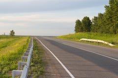 柏油路通过绿色域 免版税图库摄影