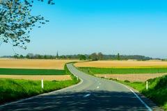 柏油路,并且与农夫的春天风景犁了领域和绿草 免版税库存图片