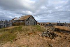 某一北欧海盗村庄废墟  免版税库存照片