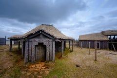 某一北欧海盗村庄废墟  免版税库存图片