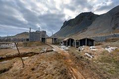 某一北欧海盗村庄废墟  库存照片