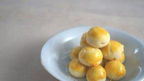 某一甜nastar (从印度尼西亚的传统乳酪蛋糕)在p 库存照片