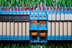 某一电气继电器在架置盘区登上 在基地或插口插入的中转 行业背景 库存图片