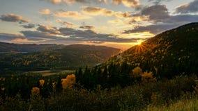 某处日落在秋天期间的纽芬兰 东部加拿大 免版税图库摄影