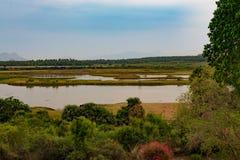 某处湖边视图在印度的南部 图库摄影