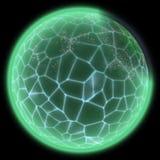 某处鲜绿色的行星的例证在远的黑暗中 皇族释放例证
