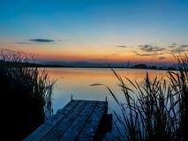 某处Sunset湖在斯洛伐克 库存照片