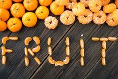柑桔蜜桔切片果子字法  库存图片