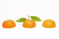 柑桔被切的桔子 库存照片