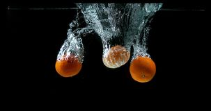柑桔,柑橘reticulata,结果实落入水反对黑背景, 影视素材