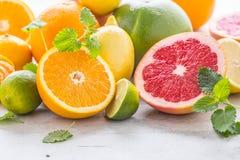 柑橘新鲜水果 与薄荷叶的橙色葡萄柚柠檬石灰 库存图片