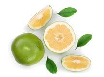柑橘糖果或Pomelit、在白色背景特写镜头隔绝的oroblanco与切片和叶子 顶视图 平的位置 库存照片
