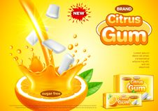 柑橘胶广告 倾吐的橙汁传染媒介背景 库存例证