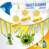 柑橘芬芳洗手间擦净剂广告 在马桶里面的更加干净的突然移动杀害毒菌 传染媒介现实例证 海报 皇族释放例证