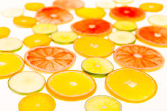 柑橘水果柠檬石灰桔子 种类水彩的接近的概念油漆盘 健康的食物 抽象派 库存图片