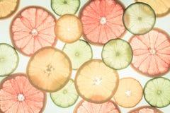 柑橘水果柠檬石灰桔子 种类水彩的接近的概念油漆盘 健康的食物 抽象派 库存照片