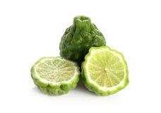 柑橘hystrix,香柠檬白色背景 免版税库存照片