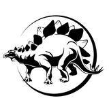 染睫毛油,恐龙Stigosaurus剪影  免版税库存图片