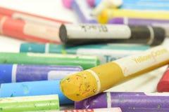 染黄Orche蜡笔技巧的特写镜头 免版税库存图片
