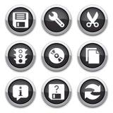 染黑基本的应用按钮 免版税库存图片
