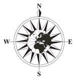 染黑指南针白色 免版税库存图片