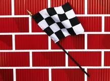 染黑方格的完成标志线路白色 免版税库存图片