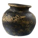 染黑棕色黏土工厂罐 免版税库存照片