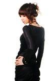 染黑深色的礼服华美的缎 免版税库存图片