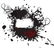 染黑被弄污的红色玫瑰符号 库存图片