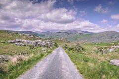 染黑谷的乡下路在县凯利,爱尔兰,在一多云天 图库摄影