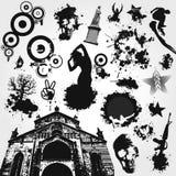 染黑集合向量白色 库存照片