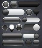 染黑高详细现代按钮。 免版税库存图片
