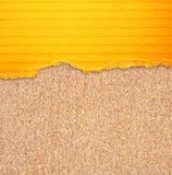 染黄与条纹的被撕毁的纸在黄柏板背景。 免版税图库摄影