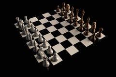 染黑董事会企业检查棋结尾的游戏高亮度显示损失伙伴黑白照片采取白色在方法成功的隐喻 库存照片