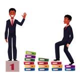 染黑,非裔美国人的商人,经理上升的事业梯子,达到成功 库存图片