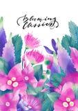 柔和的淡色彩上色了与异乎寻常的叶子和花的设计 库存图片